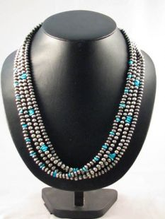 Native American Navajo Made Multistrand Necklace with Navajo Pearls and Turquoise