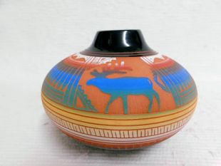Native American Navajo Red Clay Smoke Pot with Moose