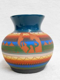 Native American Navajo Red Clay Pot--Traditional with Horses