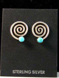 Native American Zuni Made Migration Earrings with Turquoise or Coral