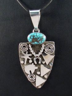 Native American Zuni/Navajo Made Pendant--Grandmother with Turquoise