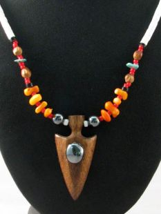 Native American Hopi Made Pinon and Bead Necklace with Cottonwood Carved Arrowhead