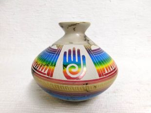 Native American Navajo Made Ceramic Fine Etched Horsehair Smoke Pot with Healing Hand