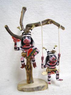 Native American Navajo Made Clown Kachina Dolls up a Tree