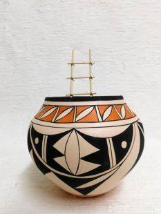 Native American Acoma Handbuilt and Handpainted Bowl with Kiva Ladder