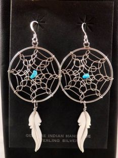 Native American Navajo Made Dreamcatcher Earrings with Turquoise Stone