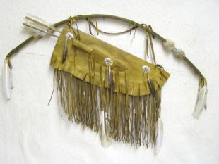 Native American Navajo Made Warrior Bow and Quiver with Knife