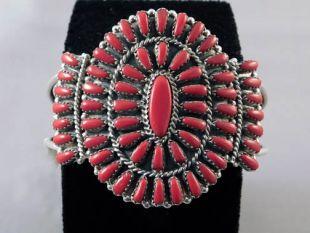 Native American Navajo Made Coral Blossom Cuff Bracelet