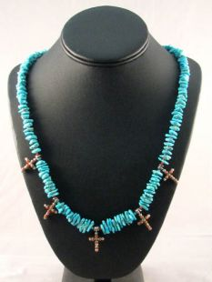 Native American Lakota Made Turquoise Necklace with Crosses