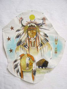 Native American Small Hopi Painted Hide with Buffalo Warrior