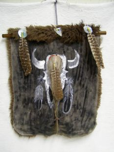"""Native American Apache Painted Buffalo Hide with """"Scalp"""""""