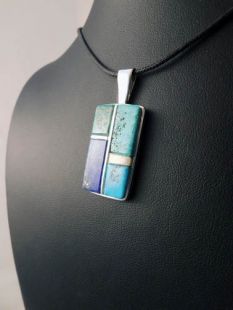 Native American Hopi Made Pendant with Multistones