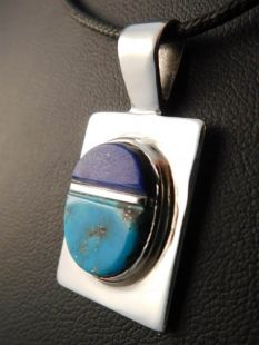 Native American Hopi Made Pendant with Lapis and Persian Turquoise
