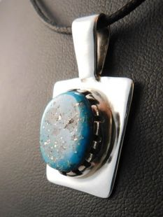 Native American Hopi Made Pendant with Persian Turquoise