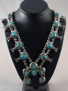 Vintage Native American Navajo Made Squash Blossom Necklace