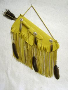 Native American Navajo Made Flat Leather Quiver with Knife and Arrows