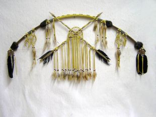 Native American Tohono O'odham Made Bow with Dreamcatchers