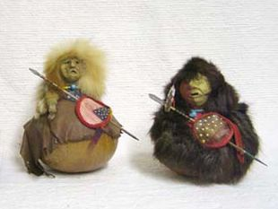 Native American Made Gourd Warriors Figurines