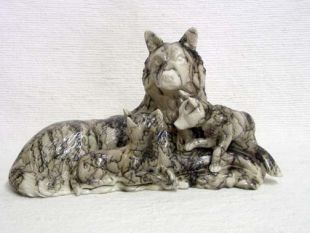 Native American Made Ceramic Horsehair Three Piece Wolf with Cubs