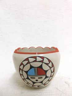 Native American Acoma Handbuilt and Handpainted Bowl with Sunface and Fluted Top