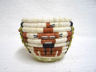 Native American Hopi Made Figurative Coil Basket with Mudhead and Fancy Heheya