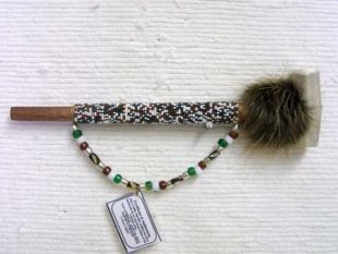 Native American Creek Made Small Beaded Ceremonial Horn Pipe