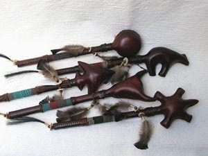 Native American Navajo Made Ceremonial Rawhide Rattles