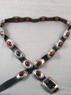 Vintage Native American Navajo Made Concha Belt with Carnelian