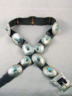 Vintage Native American Navajo Made Concha Belt with Turquoise