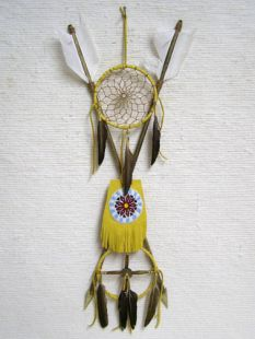 Native American Tohono O'odham Made 4-Way Crossed Arrows with Beaded Pouch