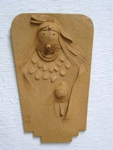 Native American Navajo Made Mother & Daughter Clay Sculpture