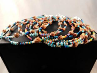 Native American Navajo Made Turquoise, Glass and Ghost Bead Anklets