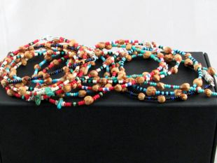 Native American Navajo Made Turquoise, Glass and Ghost Bead Bracelet