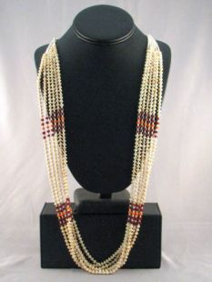 Native American Navajo Made Multistrand Necklace with Pearl and Shell