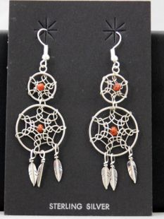 Native American Navajo Made Double Dreamcatcher Earrings with Coral or Turquoise Stone