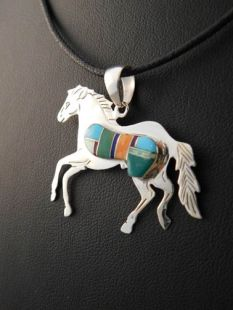 Native American Navajo Made Pendant Inlaid Horse with Multistones