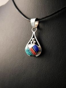 Native American Navajo Made Pendant Inlaid with Multistones