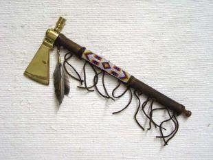 Native American Tohono O'odham Made Brass Hatchet with Pipe