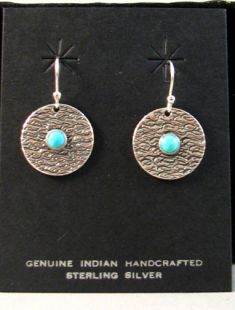 Native American Apache Made Earrings with Turquoise or Coral Stone