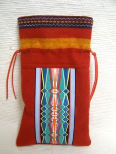 Native American Navajo Made Wool with Multicolored Fabric Sewn Pattern Medicine Bag