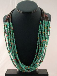 Native American Navajo Made Multistrand Necklace with Turquoise