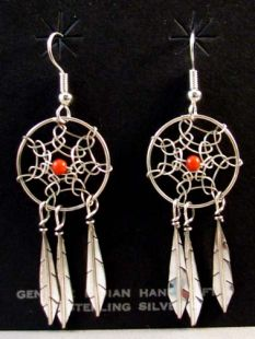 Native American Navajo Made Dreamcatcher Earrings with Coral Stone