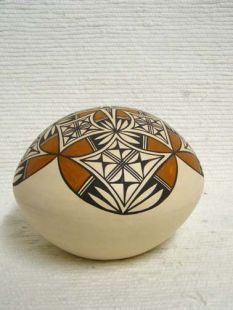 Native American Acoma Handbuilt and Handpainted Ball Seed Pot