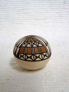 Native American Acoma Handbuilt and Handpainted Tiny Seed Pot
