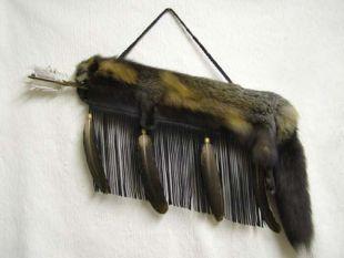 Native American Cherokee Made Cross Fox Pelt Quiver with Arrows