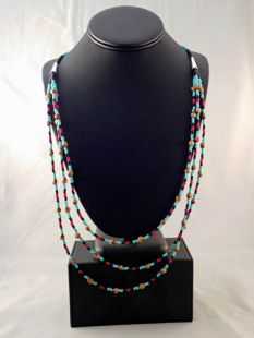 Native American Navajo Made Ghost Bead and Turquoise Three-Strand Necklace