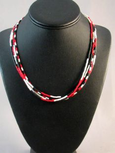 Native American Made Mini Wampum Glass Bead Necklace