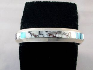 Native American Navajo Made Cuff Bracelet with Crazy Horse Inlay