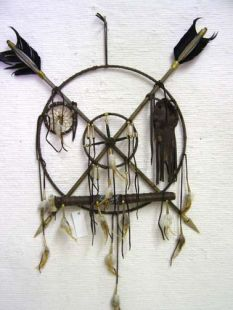 Native American Tohono O'odham Made Small Ceremonial Peace Shield with Pipe