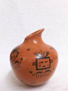 Native American Hopi Handbuilt and Handpainted Traditional Pot with Hopi Katsinam